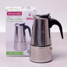 Кофеварка гейзерная 200мл (4 чашки) из нержавеющей стали