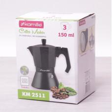 Кофеварка гейзерная 150мл (3 чашки) из алюминия с широким индукционным дном