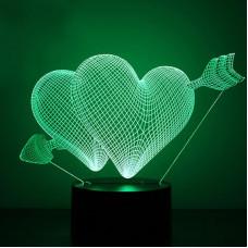 """Ночник, светильник 3D """"Два сердца"""""""