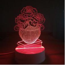 "Ночник-лампа 3D ""Розы в вазе"""